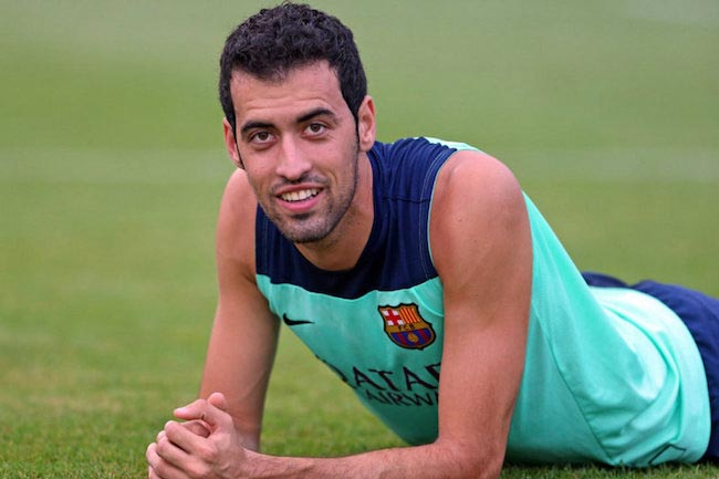 Sergio Busquets during team practice in 2015
