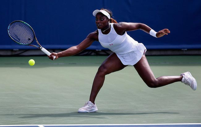 Sloane Stephens during a match against Ana Ivanovic on August 20, 2015 in Cincinnati, Ohio
