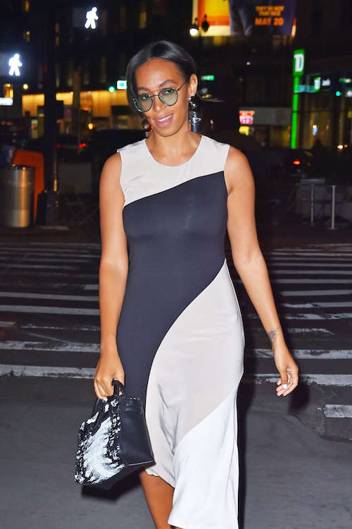 Solange Knowles in black and white dress out in Manhattan in April 2016