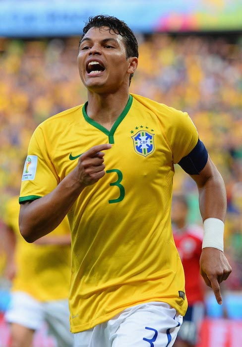 Thiago Silva celebrating after he scores a goal for his squad in the 2014 FIFA World Cup Quarter Final match against Colombia on July 4, 2014