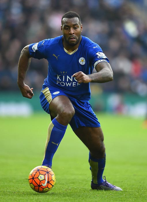 Wes Morgan with the ball during a Premier League match between Leicester City and Norwich City on February 27, 2016