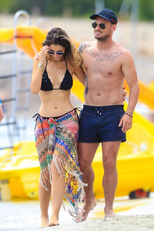Wesley Sneijder and his wife Yolanthe Cabau van Kasbergen during vacation on Ibiza