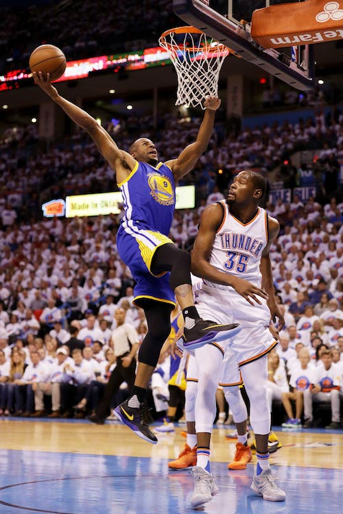 Andre Iguodala in action against Kevin Durant and the Oklahoma City Thunder on May 24, 2016