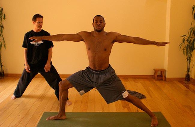 Andre Iguodala shirtless body while practicing yoga with Kent Katich