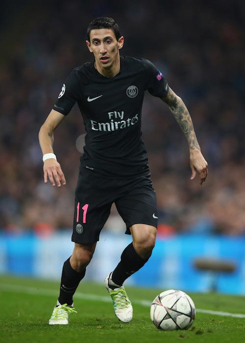 Angel Di Maria with the ball in a match between Paris Saint-Germain and Manchester City on April 12, 2016