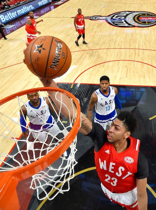 Anthony Davis dunking the ball during the NBA All-Star Game 2016 on February 14, 2016 in Toronto, Ontario