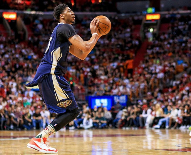 Anthony Davis in action during a game between the New Orleans Hornets and Miami Heat on December 25, 2015