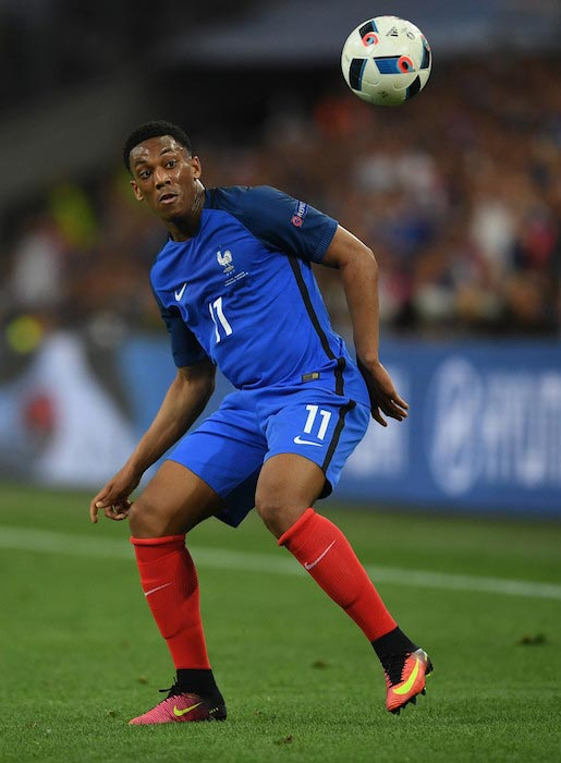 Anthony Martial passes the ball during a UEFA Euro 2016 match between France and Albania on June 15, 2016