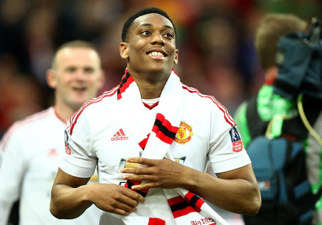 Anthony Martial celebrates after his team's victory against Crystal Palace on May 21, 2016 in London, England