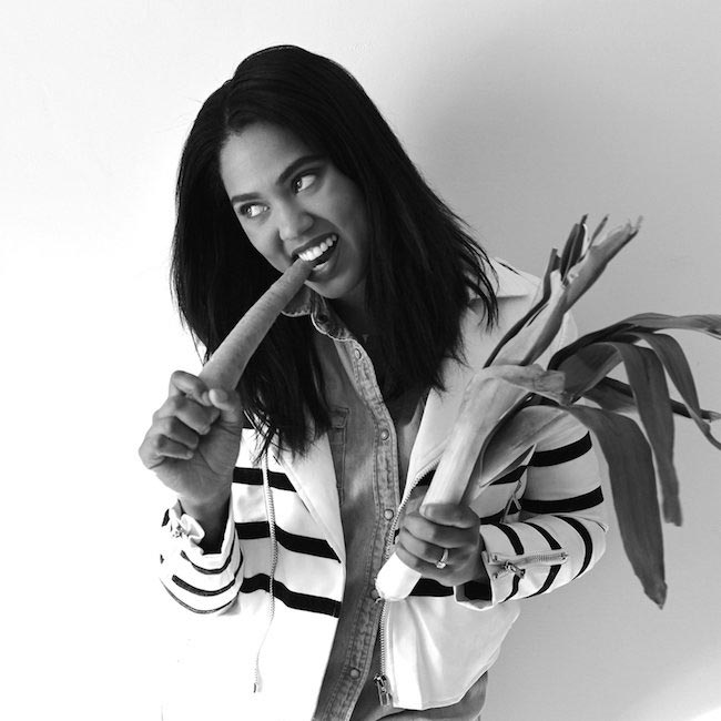 Ayesha Curry eating veggies