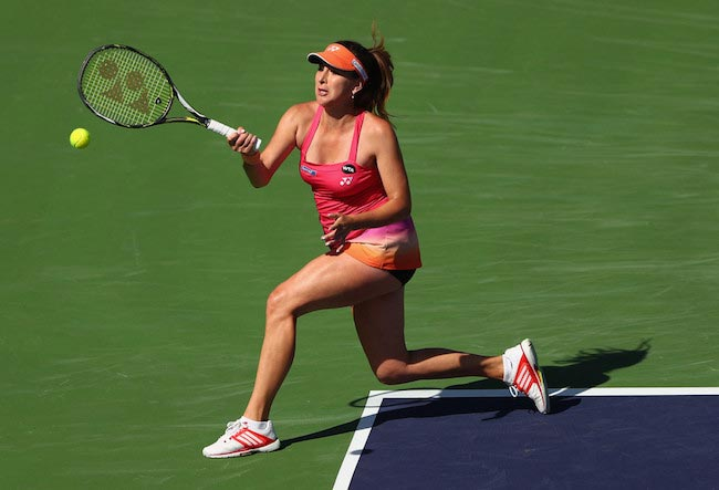 Belinda Bencic hitting the ball with a forehand in a match against Lauren Davis on March 12, 2016 in Indian Wells, California