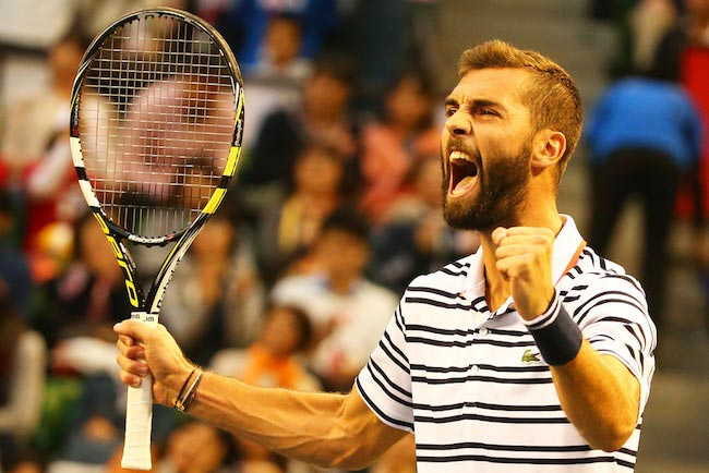 Benoit Paire shows excitement after a win against Kei Nishikori at Rakuten Open 2015 on October 10, 2015 in Tokyo, Japan