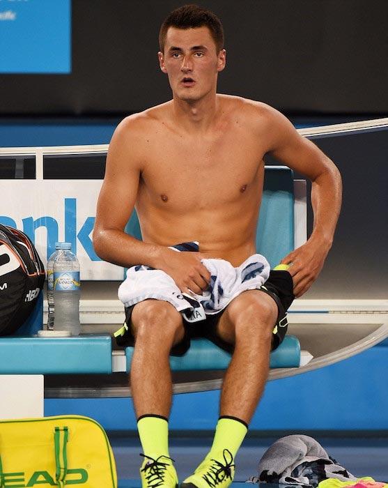 Bernard Tomic shirtless body