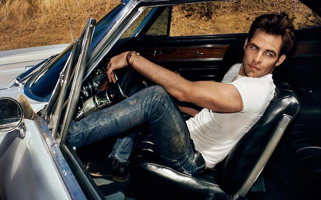 Chris Pine in white t-shirt and blue denims