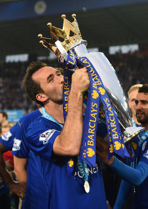 Christian Fuchs celebrating Leicester's title on May 7, 2016 in Leicester, UK