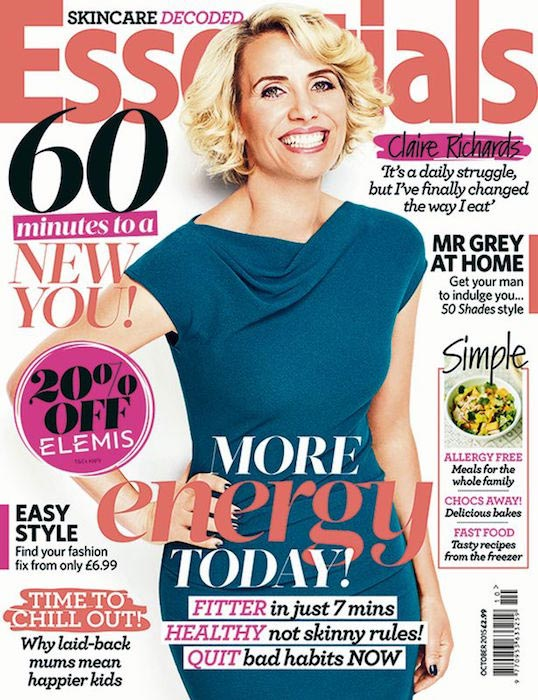 Claire Richards on the cover of Essentials magazine