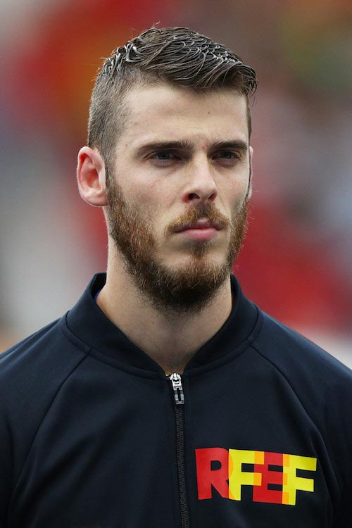 David de Gea during the intonation of the Spanish national anthem in a EURO 2016 match between Spain and Czech Republic on June 13, 2016