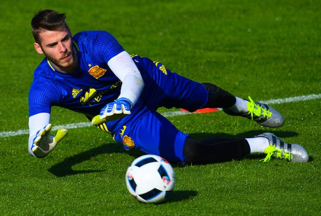 David De Gea during a practice session on May 28, 2016 in Schruns, Austria