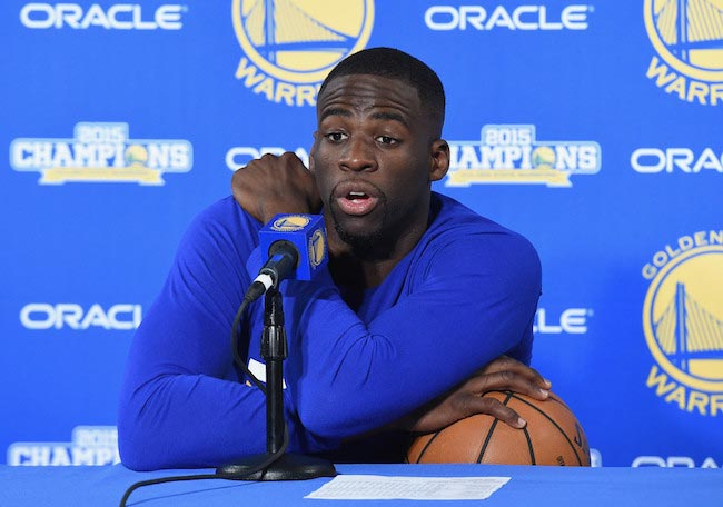 Draymond Green speaks during a press conference on April 13, 2016 in Oakland, California