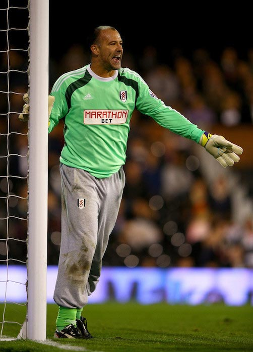 Gabor Kiraly in action during a match between Fulham and Derby County on October 28, 2014 in London