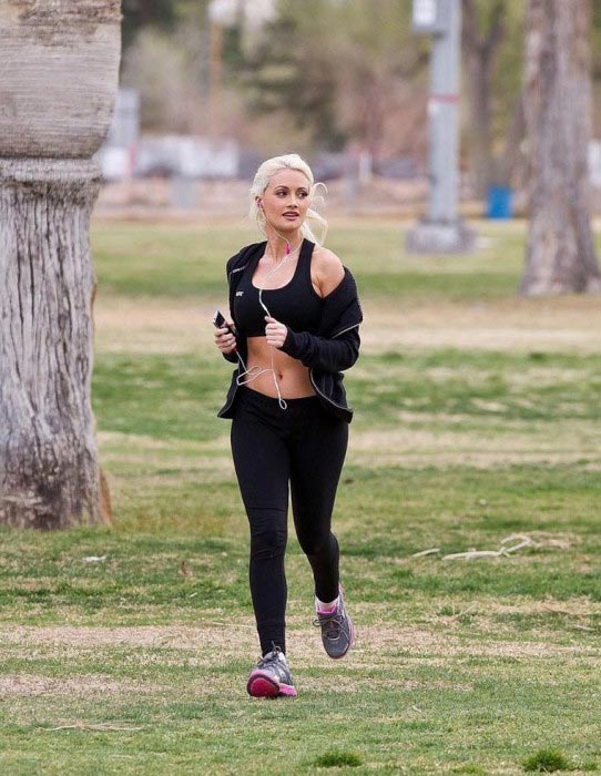 Holly Madison running outdoors