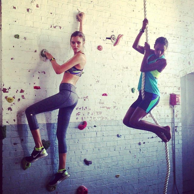 Jasmine Tookes and Josephine Skriver working out