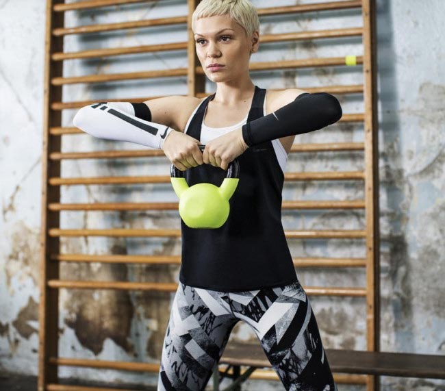 Jessie J kettlebell workout