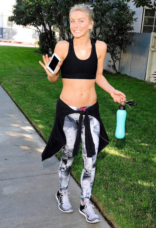 Julianne Hough going for a workout wearing black tank top