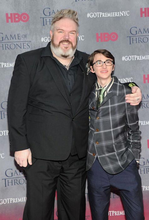 Kristian Nairn with Isaac Hempstead Wright at the Game of Thrones Season 4 premiere in March 2014
