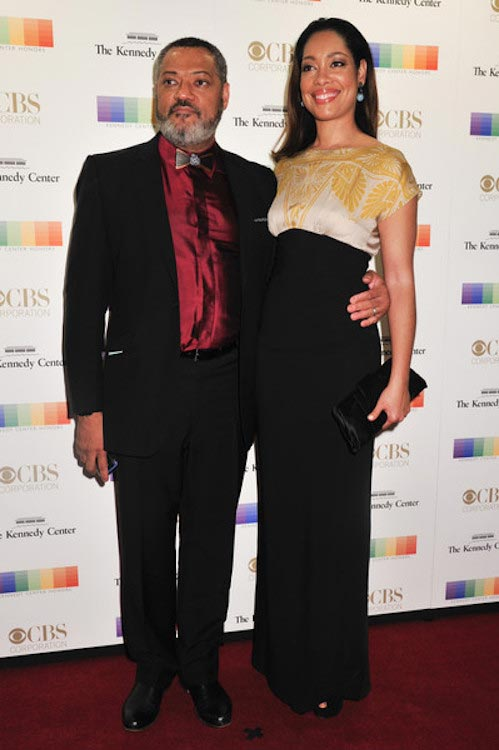Laurence Fishburne and Gina Torres at the 38th Annual Kennedy Center Honors Gala on December 6, 2015