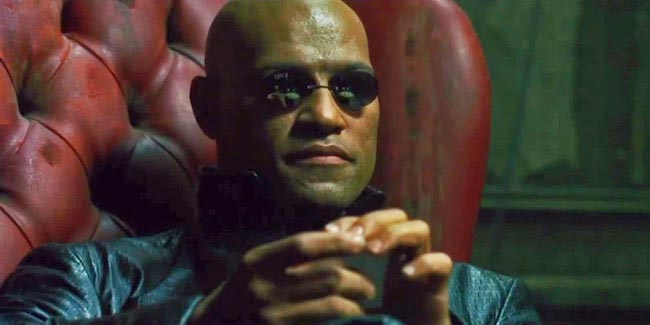 Laurence Fishburne as Morpheus in Kia's Matrix themed super bowl ad