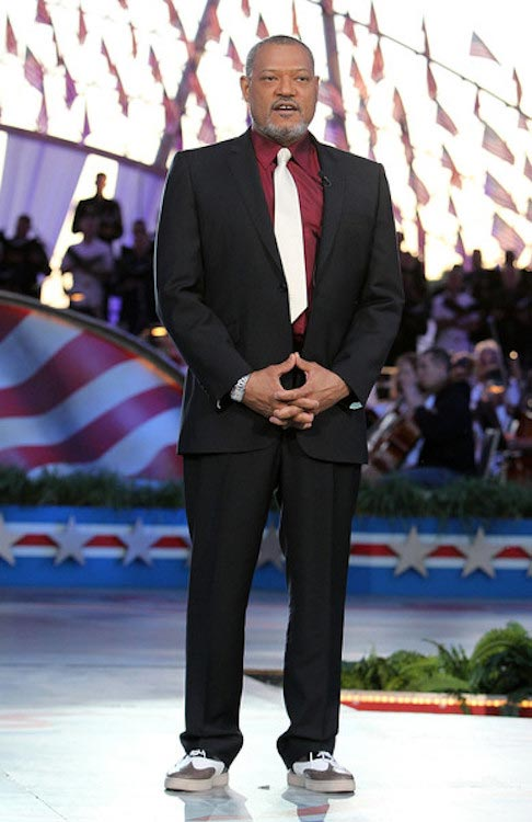Laurence Fishburne on stage at the 26th National Memorial Day Concert Rehearsals on May 23, 2015