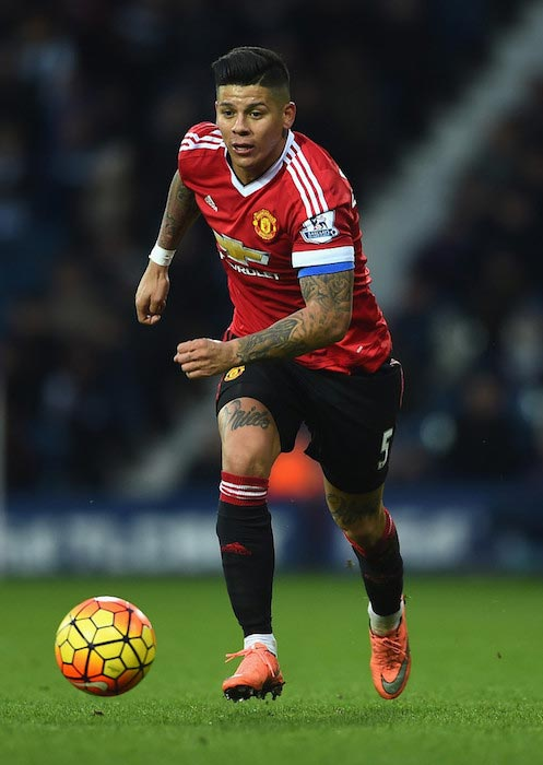 Marcos Rojo with the ball during a match between Manchester United and West Bromwich Albion on March 6, 2016