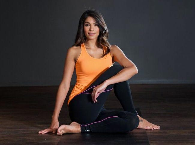 Pia Miller doing yoga
