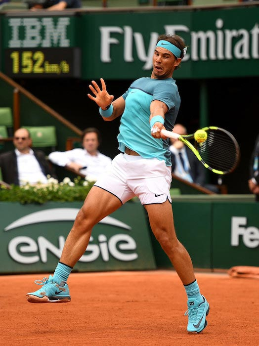 Rafael Nadal in action during 2016 French Open at Roland Garros on May 26, 2016 in Paris, France