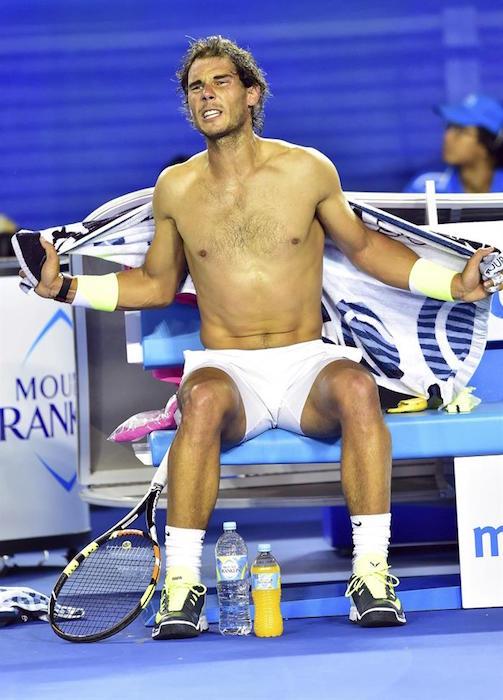 Rafael Nadal shirtless during Australian Open 2015