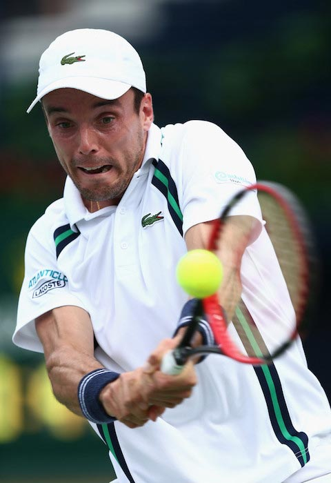 Roberto Bautista Agut during a match against Chung Hyeon of Korea at ATP Dubai Duty Free Tennis Championship on February 24, 2016