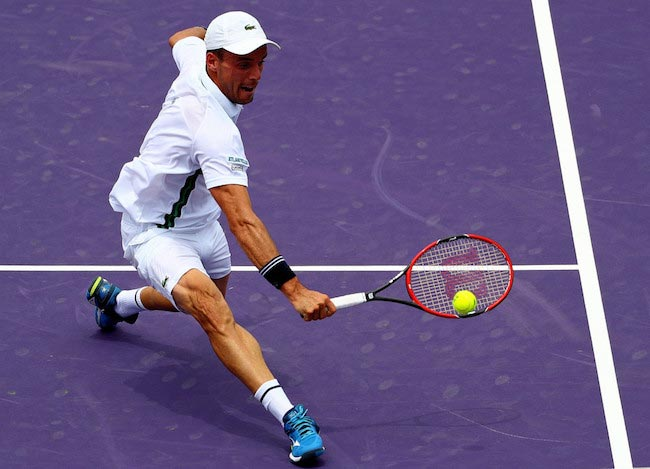 Roberto Bautista Agut in a match against Jo-Wilfried Tsonga at Miami Open on March 28, 2016 in Biscayne, Florida