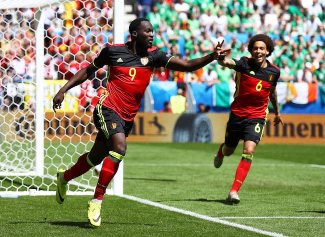 Romelu Lukaku celebrates a goal for his national team in a EURO 2016 match against Republic of Ireland on June 18, 2016