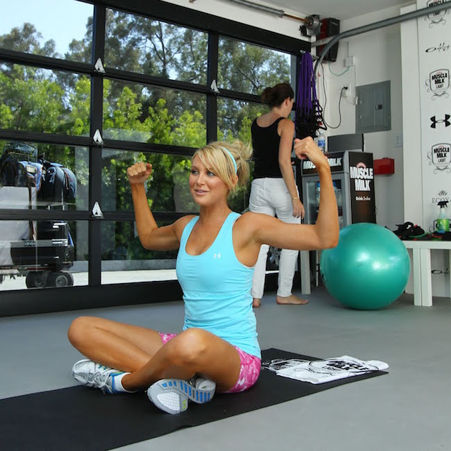 Stephanie Pratt at the Muscle Milk Retreat event in Beverly Hills for a good workout