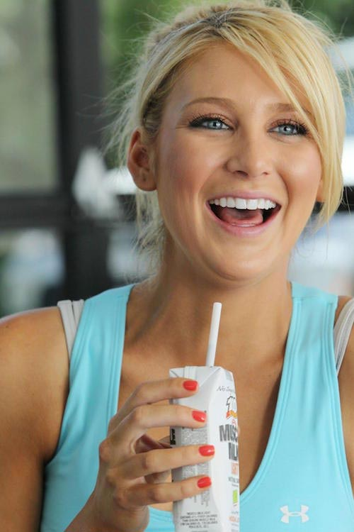 Stephanie Pratt drinking milk
