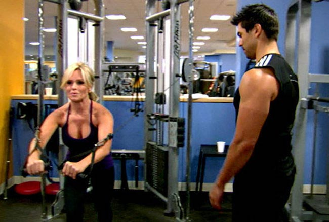 Tamra Barney doing cable crossover for chest