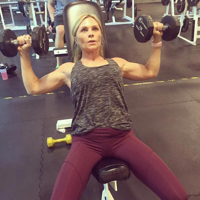 Tamra Barney doing incline chest press