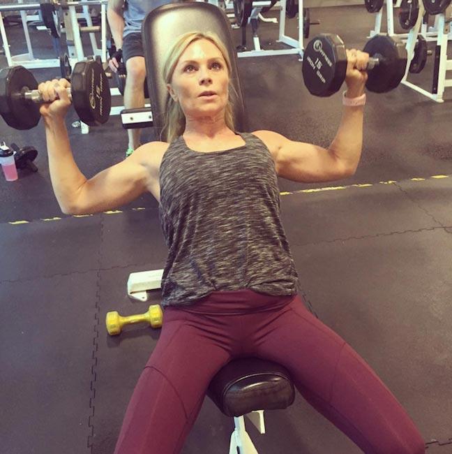 Tamra Barney doing incline chest press