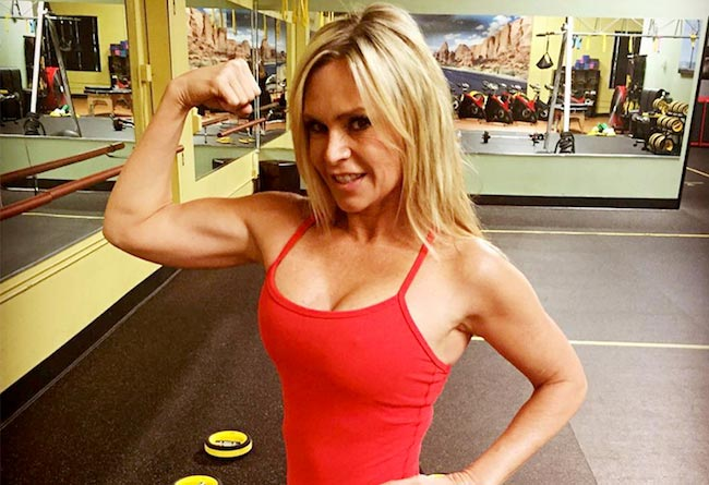 Tamra Barney showing her biceps