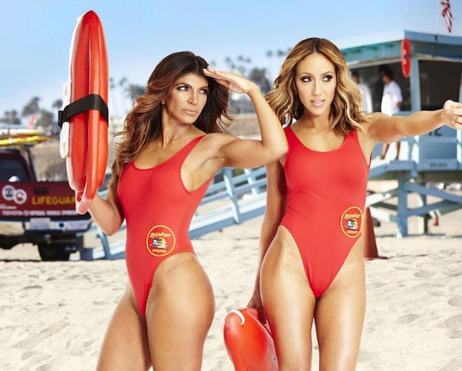 Teresa Giudice with sister-in-law Melissa Gorga posing for US Weekly