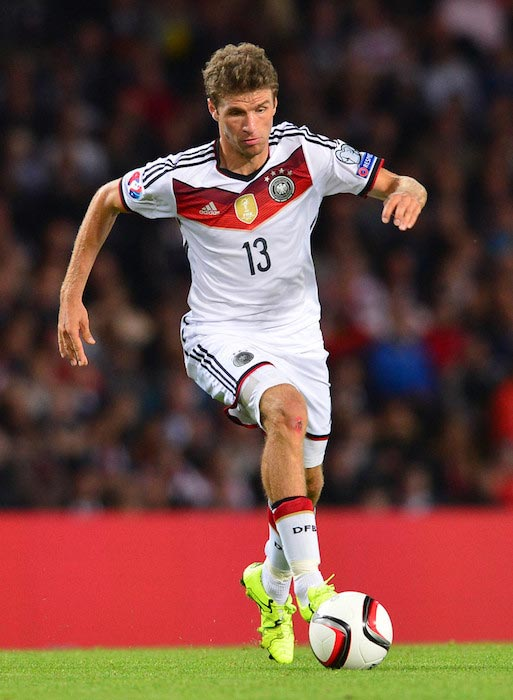 Thomas Muller with the ball during a match between Germany and Scotland on September 7, 2015