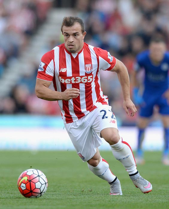 Xherdan Shaqiri in a Premier League match between Stoke City and Leicester City on September 19, 2015