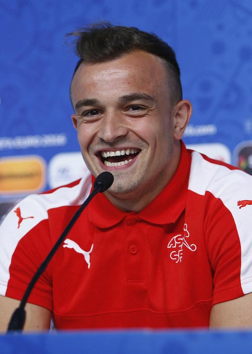 Xherdan Shaqiri during a press conference on June 10, 2016 in Lens, France