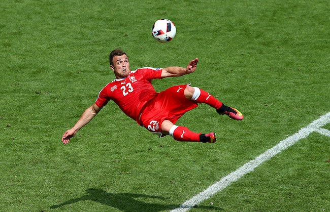 Xherdan Shaqiri scores the legendary goal for his country Switzerland against Poland during the UEFA EURO 2016 on June 25, 2016